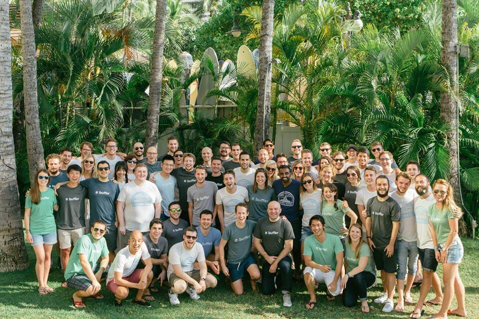 The Buffer team on a retreat